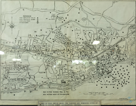 Map of Kent showing where shells, bombs and V1 flying bombs landed.