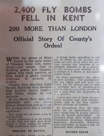 2400 fly bombs fell in Kent article. Part 1 of 3.