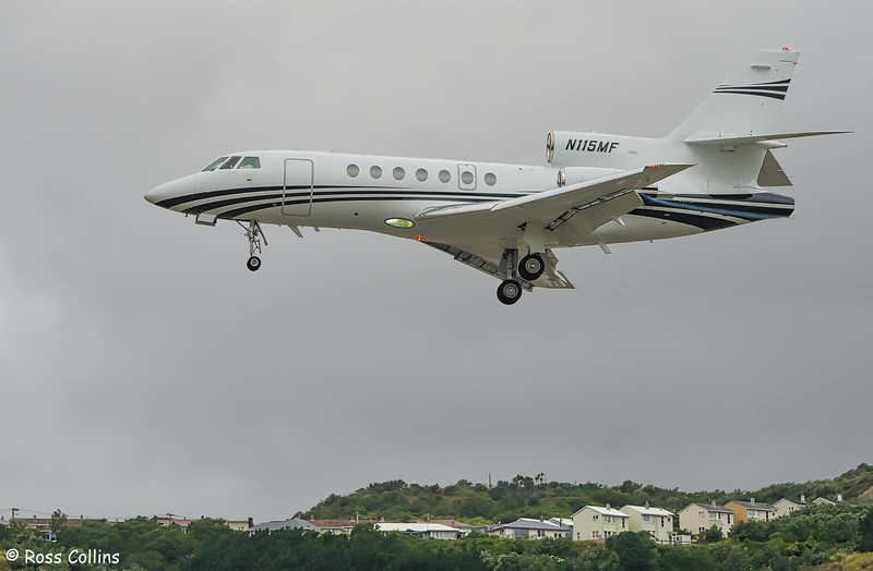 Dassault-Breguet F50, N115MF, arriving at Wellington, 27 January 2020