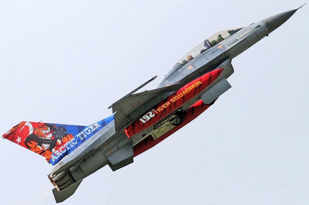 "NATO Tiger Meet at Ørland MAS (OLA/ENOL) on June 1, 2012. Turkish Air Force (Türk Hava Kuvvetleri) Lockheed Martin F-16D Fighting Falcon ""94-0108"" (cn HD-10/94-0108). Operated by 192 Filo ""Tiger squadron"" based at Balikesir AB. Nice tail colours!"