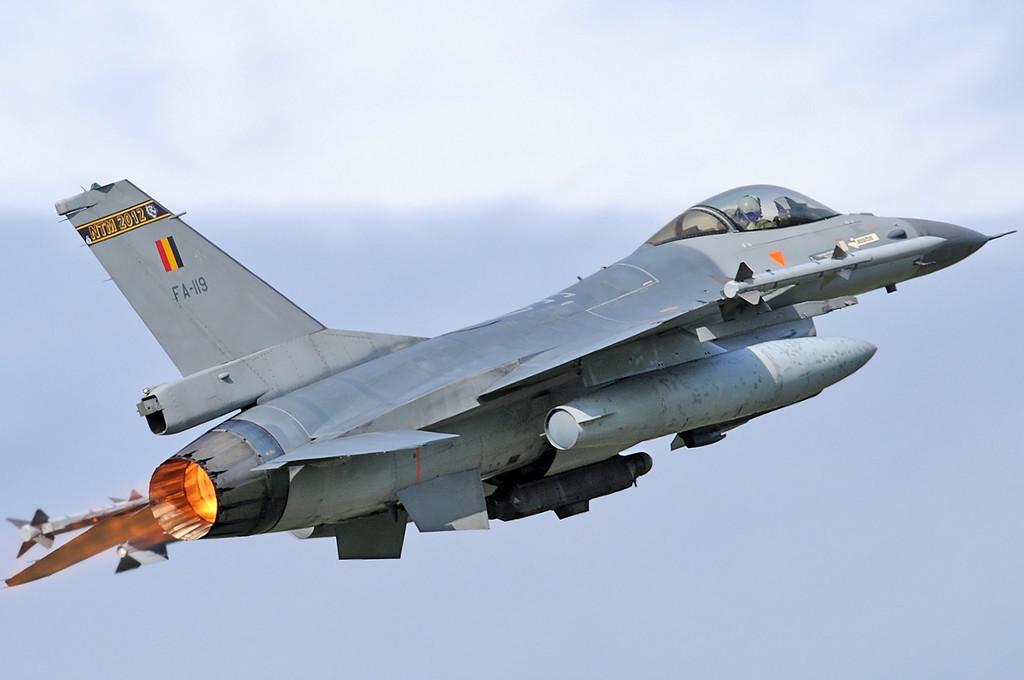 "NATO Tiger Meet at Ørland MAS (OLA/ENOL) on June 1, 2012. Belgian Air Force General Dynamics F-16AM Fighting Falcon ""FA-119"" (cn 6H-119/80-0044). Operated by 31 Smaldeel at Kleine Brogel AB."