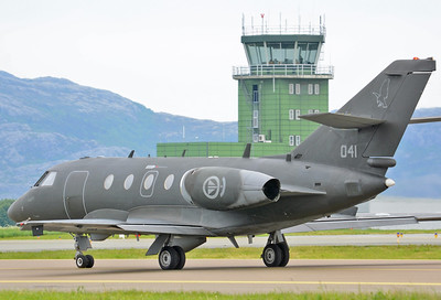 """NATO Tiger Meet at Ørland MAS (OLA/ENOL) on June 21, 2013. Royal Norwegian Air Force Dassault Fan Jet Falcon 20ECM """"041"""" (cn 041/407). Operated by 717 Squadron based at Rygge AB."""