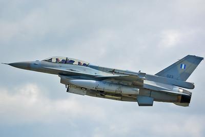 "NATO Tiger Meet at Ørland MAS (OLA/ENOL) on June 20, 2013. Hellenic Air Force Lockheed Martin (LM Aero) F-16D Block 52+ Fighting Falcon ""023"" (cn WK-3/06-2112). Operated by 335 Mira ""Tigris (Tigers)"" based at Araxos AB."