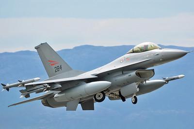 "NATO Tiger Meet at Ørland MAS (OLA/ENOL) on June 21, 2013. Royal Norwegian Air Force General Dynamics (Fokker) F-16AM Fighting Falcon ""284"" (cn 6K-13/78-0284)."