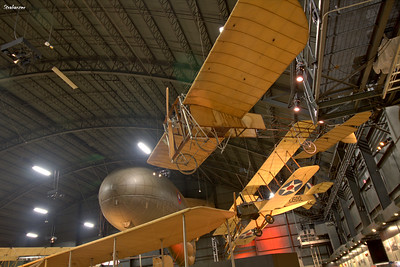 National Museum of the United States Air Force, Dayton, Ohio,   04/12/2019 A Bleriot Monoplane built in Ohio in 1911 from factory drawings,  behind and to right a Standard J-1 and to left a Caquot Type R  Observation balloon   This work is licensed under a Creative Commons Attribution- NonCommercial 4.0 International License.