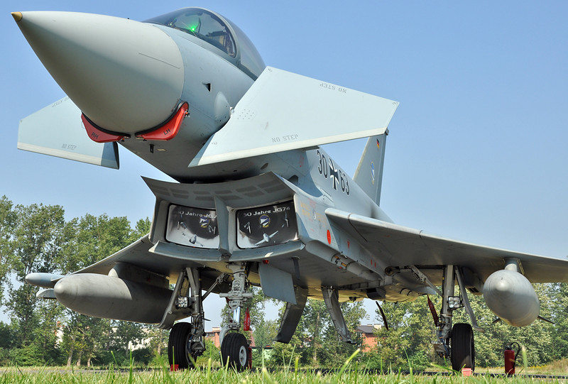"Radom Air Show at Radom-Sadkow (EPRA) on August 27, 2011. German Luftwaffe Eurofighter EF-2000 Typhoon S ""30+63"" (cn GS 0046)."