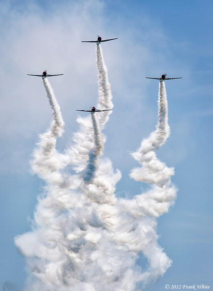 GEICO Skytypers, flying T-6 Texan trainers from WWII. Ocean City, MD 2012 Airshow.