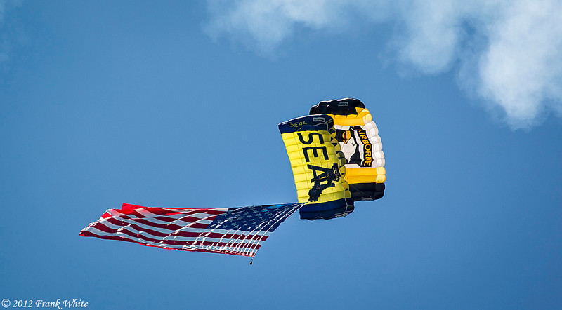 101st Airborne and Navy Seal parachute jumpers. Ocean City, MD 2012 Airshow.