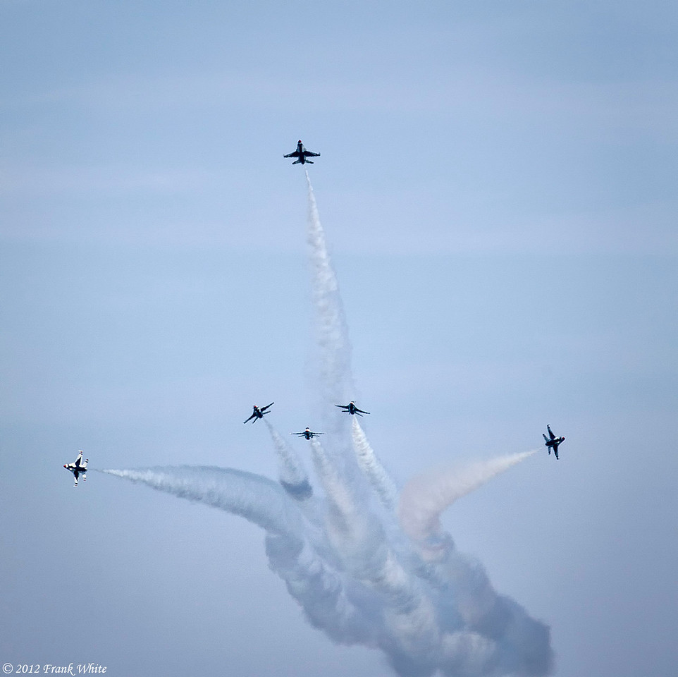 Air Force Thunderbirds in formation. Ocean City, MD 2012 Airshow.