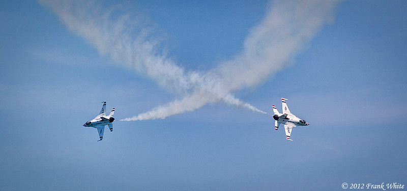 Air Force Thunderbirds crossing pass. Ocean City, MD 2012 Airshow.
