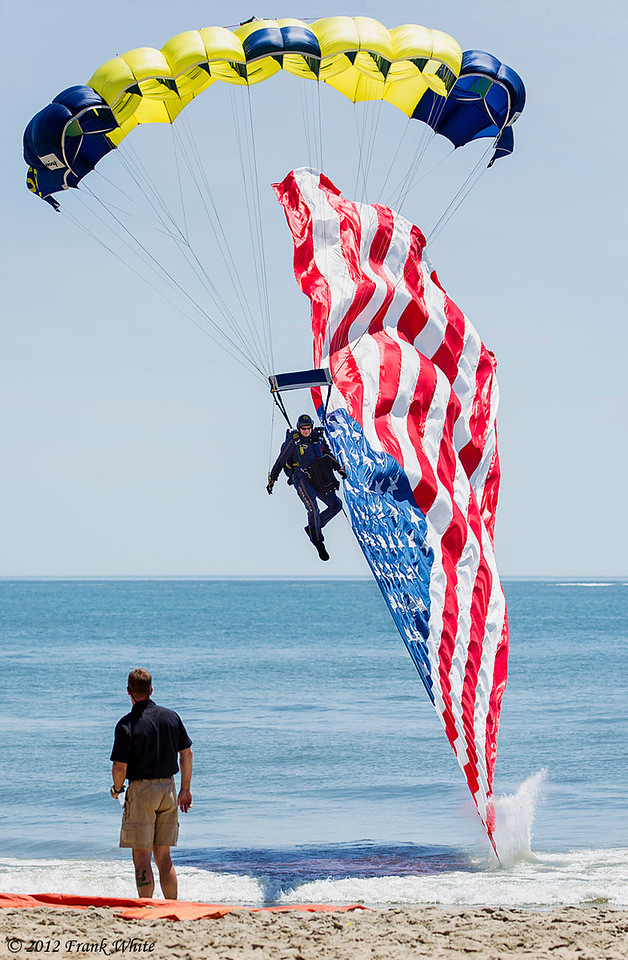 Navy Seal parachute jumper opening the show. Ocean City, MD 2012 Airshow.