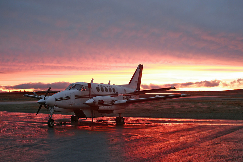 C-GFKS sits on the ramp on the dawn of a new day.