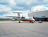 A Dehavilland DHC-8-102 owned by Air Creebec sits on the Dryden ramp. Photo taken with a Fuji GW670II but no metering took place ( I guessed).