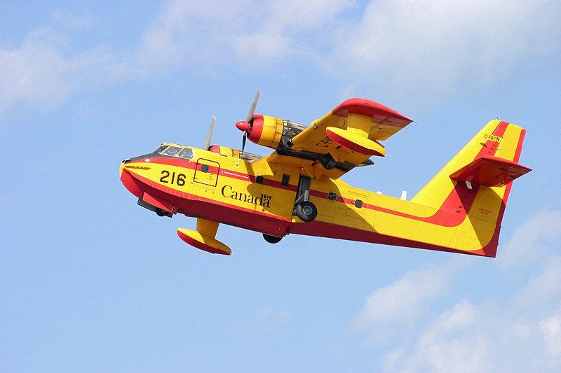 Canadair CL215 1A10 (Tanker 216) owned by the Province Of Saskatchewan, just after take off at the Dryden Airport.