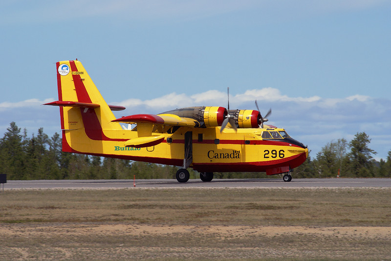 tanker 296, a Canadair CL215 1A10 (Serial No: 1089) owned by  Buffalo Airways Ltd from the Northwest Territories lands at the Dryden Regional Airport.