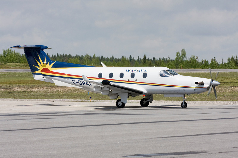 Wasaya (Sioux Lookout, Ontario) waiting on the Dryden ramp with a Pilatus PC-12.