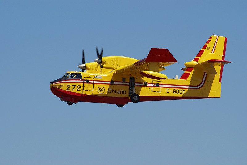 A MNR Canadair CL-415 (CL215 6B11). <br /> <br /> Tanker 272 after taking off from runway 29 at the Dyden Regional Airport.