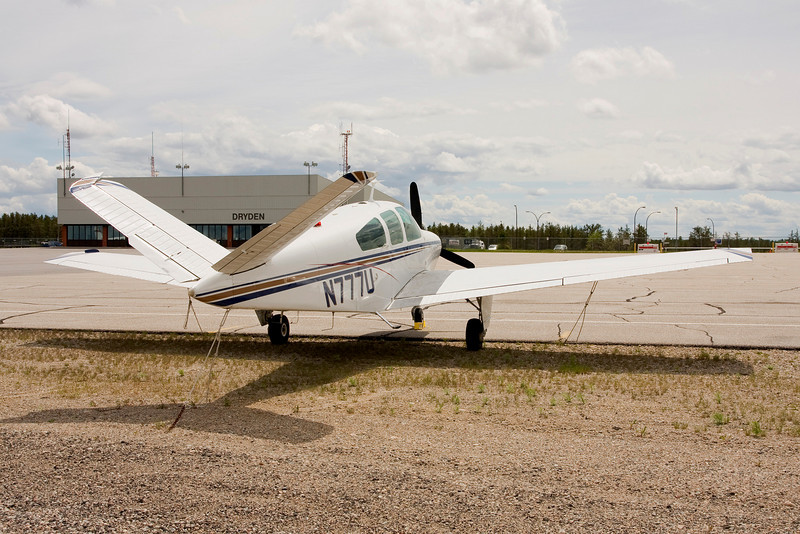A Beech V35B tied down at the Dryden ramp.