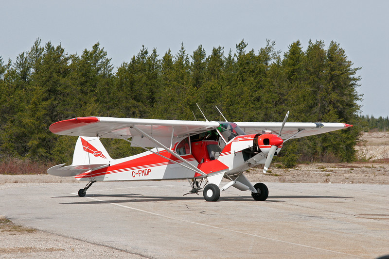 """This Super Cub, owned and operated by General Airpsray, comes to Dryden every spring for aerial spraying (seeding).  Here is a <a href=""""http://www.djkennedy.com/gallery/2047230_jSZxE#262260589_hRq5M-XL-LB"""">link</a> to a 1024x683 photo of the instrument panel from this aircraft."""