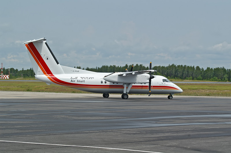 A Dehavilland DHC-8-102 operated by Air Inuit Ltd. is in Dryden for a charter.