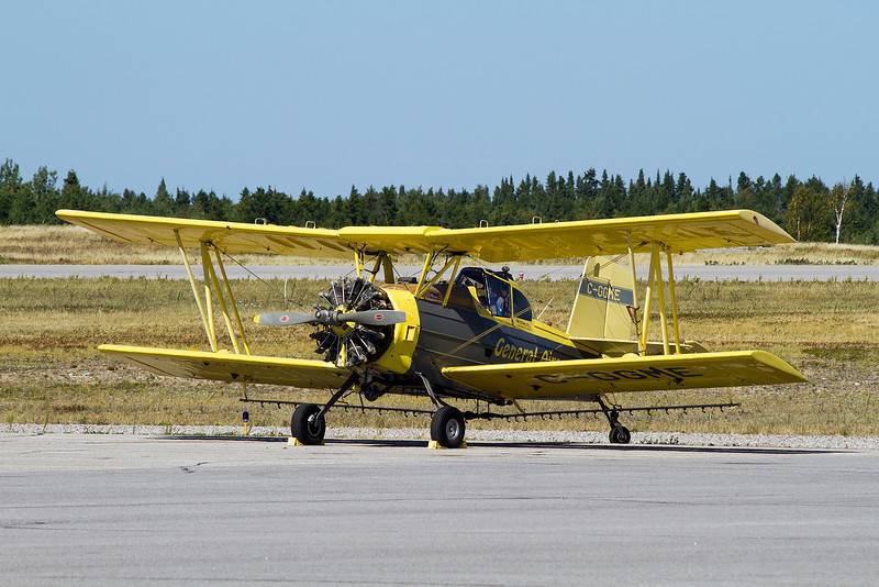 According to the information I gathered, this Grumman  G-164A came to Dryden September of 2011. General Airpsray arrived in four of these bi-planes on their way through, stopping in for some fuel.