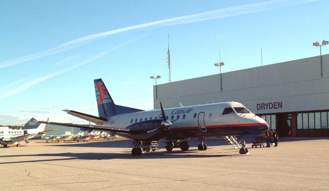 A Calm Air SAAB 340 on their last schedualed flight into Dryden Regional Airport (CYHD)