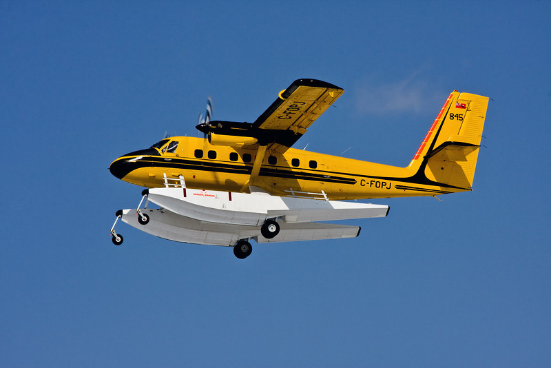 This MNR Twin Otter (Dehavilland DHC-6 SERIES 300), also known as Tanker 845, leaves the Dryden Airport for a training flight.