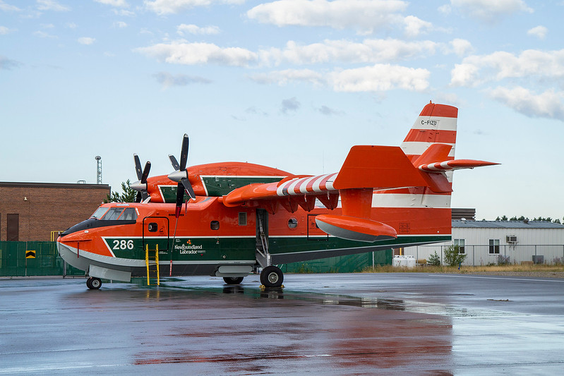 A Government of Newfoundland CL215 on the MNR ramp in Dryden