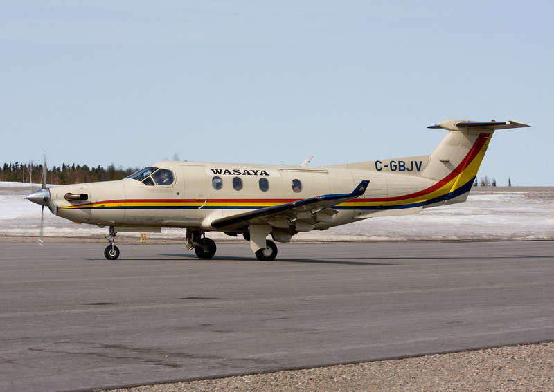 Wasaya Airlines (Sioux Lookout, Ontario) in an ex Bearskin Airlines Pilatus PC-12. Photo taken at the Dryden Regional Airport.