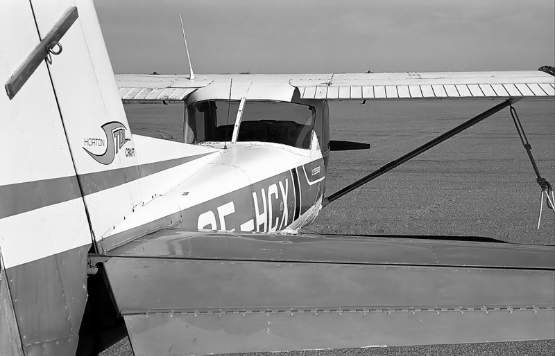 A locally owned Cessna 150L.<br /> <br /> Leica M5 (and a Canon 50mm lens) loaded with black and white film used to capture this image.