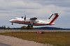 A Dehavilland DHC-8-102 (C-GAIW) owned by Air Inuit Ltd. leaves Dryden to take Ministry of Natural Resources fire fighters to Sudbury, Ontario. We've had lots of cooler temperatures and rain in the Dryden area lately, so the forest fire situation around here has settled down.