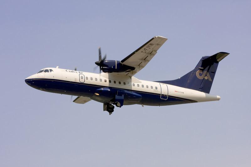 Calm Air leaving Dryden on a MNR charter with a Aerospatiale ATR 42-300.