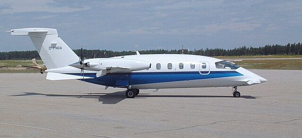 A Piaggio Avanti. Nice lines - the aircraft manufacturer is owned by Ferrari.