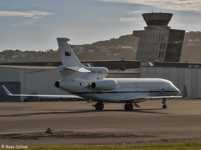 RAAF Dassault 7X A56-002 arriving at WLG, 25 November 2019