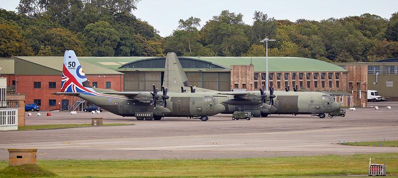 RAF Lockheed Martin Hercules C.5 (ZH883) and C.4 (ZH868) at Leuchars - 18 September 2018