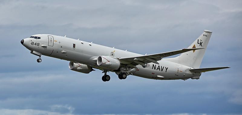 US NAVY P-8 Poseidon at Lossiemouth Airport - 4 May 2018
