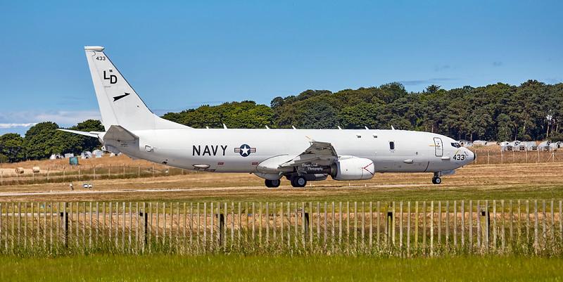 US Navy Boeing P-8A Poseidon (433) at RAF Lossiemouth - 4 July 2018
