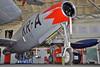 """Aalborg Forsvars- og Garnisonsmuseum on April 4, 2013. Royal Danish Air Force Republic F-84G-11-RE Thunderjet """"KR-A"""" (cn 4142-419B/19966/Ex. USAF 51-9966)."""