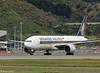 SIA B777-200 arrival at Wellington, 28 September 2016