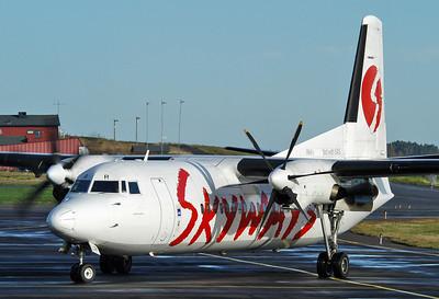 Sandefjord Airport Torp (TRF) on October 14, 2005. Skyways Airlines Fokker 50 SE-LIR (cn 20151).