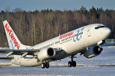 Sandefjord Airport Torp (TRF) on March 17, 2006. Air Europa Boeing 737-86Q EC-III (cn 30284/1233).