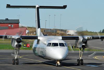 Sandefjord Airport Torp (TRF) on October 14, 2005. Widerøe De Havilland Canada DHC-8-311 Dash 8 LN-WFA (cn 342).