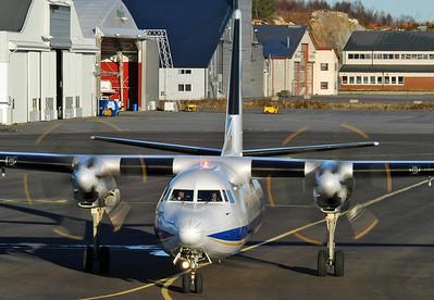 Sandefjord Airport Torp (TRF) on November 18, 2005. Denim Air Fokker 50 PH-MXF (cn 20283).