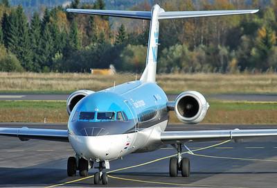 Sandefjord Airport Torp (TRF) on October 14, 2005. KLM CityHopper Fokker 70 PH-KZA (cn 11567).