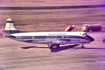 Copy From Slide 0278 Viscount 754D  c/n 241   VP-YTE Jan Smuts, Kempton Park, South Africa,      05/12/1973 Air Rhodesia  This work is licensed under a Creative Commons Attribution- NonCommercial 4.0 International License.