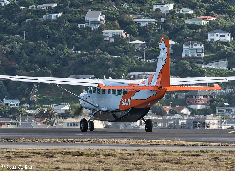 Sounds Air Cessna 208B Grand Caravan departs WLG to BHE as S8277, 9 June 2017