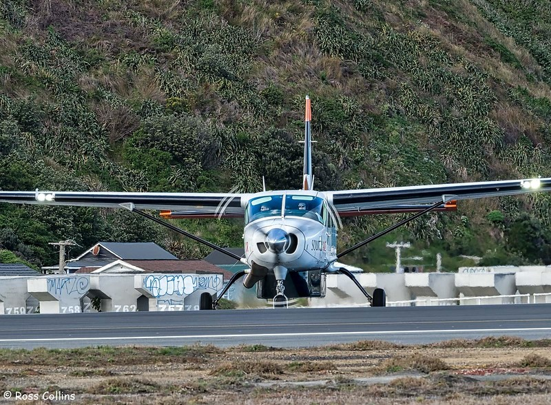 Sounds Air Cessna 208B Grand Caravan departs WLG to BHE as S8287, 19 August 2018