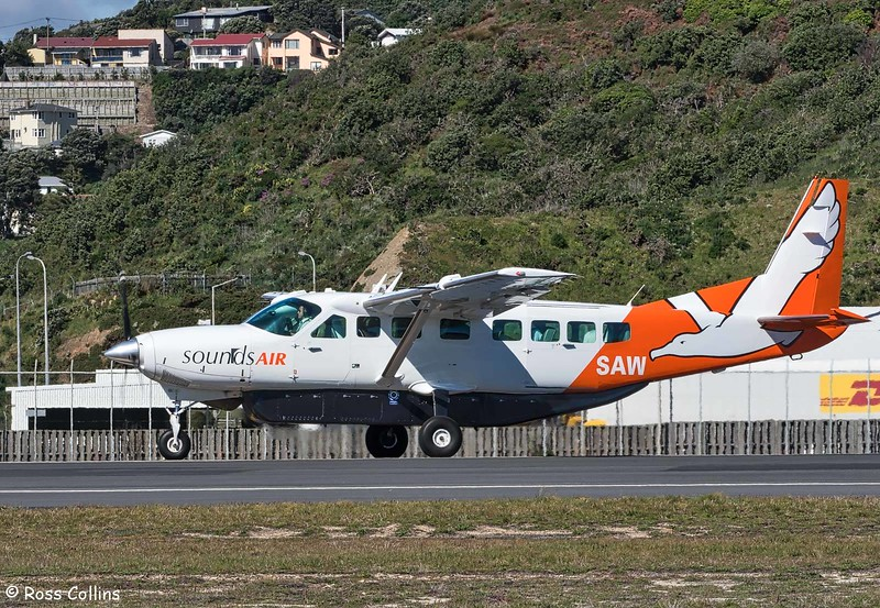 Sounds Air Cessna 208B Grand Caravan departs WLG to BHE as S8289, 24 October 2017