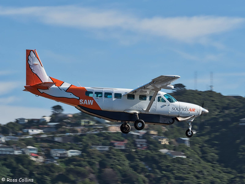 Sounds Air Cessna 208B Grand Caravan arrival at WLG ex BHE as S8276, 8 May 2018