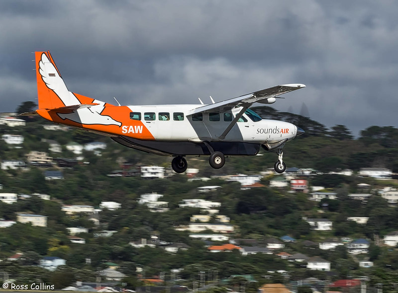 Sounds Air Cessna 208B Grand Caravan arrives at WLG ex BHE as S8268, 26 February 2017